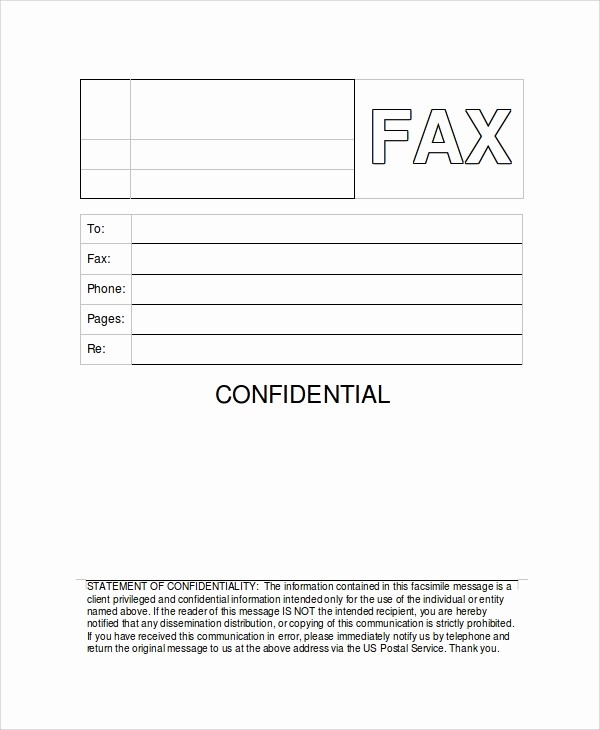 Printable Fax Cover Sheet Confidential Fresh 9 Generic Fax Cover Sheet Samples