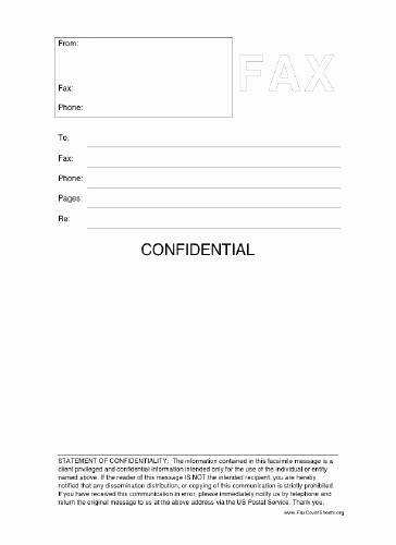 Printable Fax Cover Sheet Confidential Fresh Confidential Fax Cover Sheet at Freefaxcoversheets