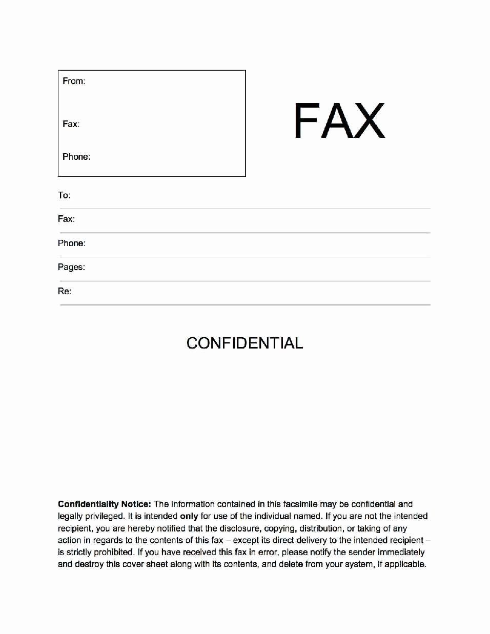 Printable Fax Cover Sheet Confidential Inspirational Confidential Fax Cover Sheet