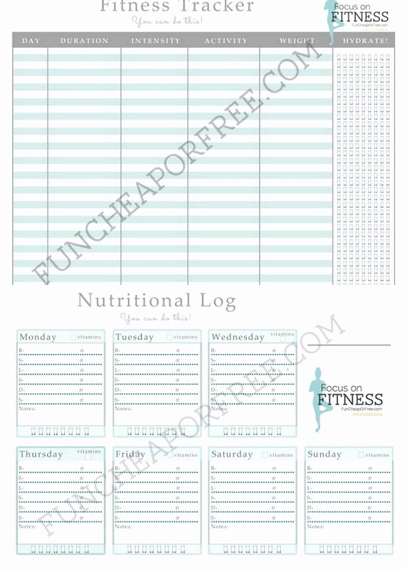 Printable Food and Exercise Journal Beautiful Free Printable Food and Fitness Log Fun Cheap or Free