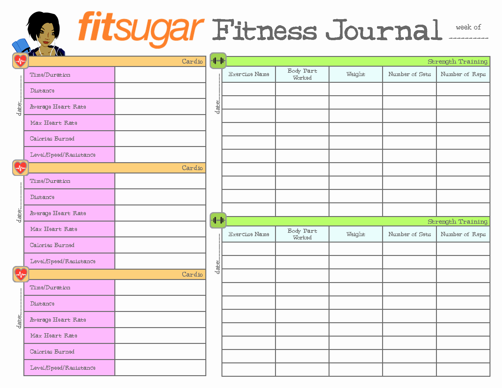 Printable Food and Exercise Journal Elegant 9 Best Of Free Printable Exercise Journal