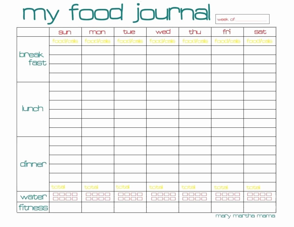 Printable Food and Exercise Journal Elegant Free Printable Food Journal Page for A whole Week