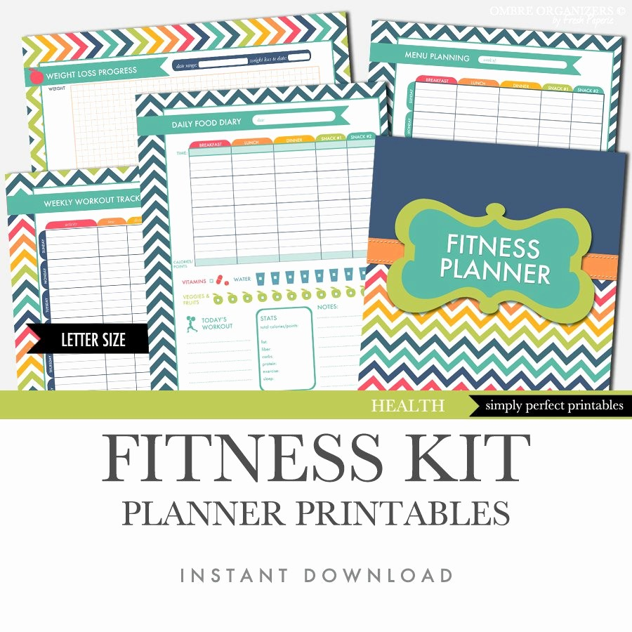 Printable Food and Exercise Journal Fresh Fitness Planner Weight Loss Food Diary Menu Planner