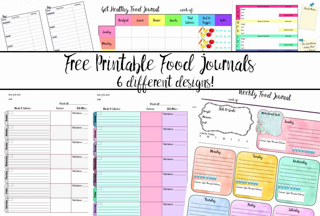 Printable Food and Exercise Journal Fresh Free Printable Food Journal 6 Different Designs