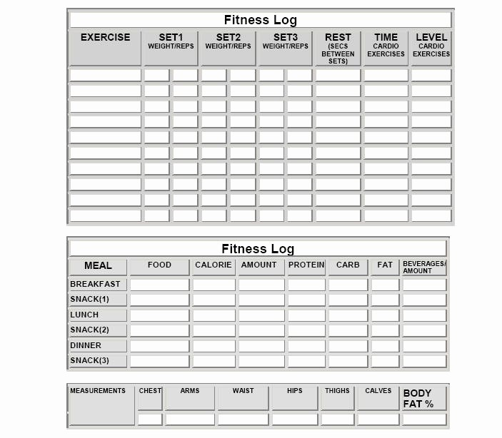 Printable Food and Exercise Journal Fresh Workout and Diet Journal