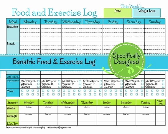 Printable Food and Exercise Journal Luxury Bariatric Surgery Weekly Food Exercise Tracker Weigh Loss