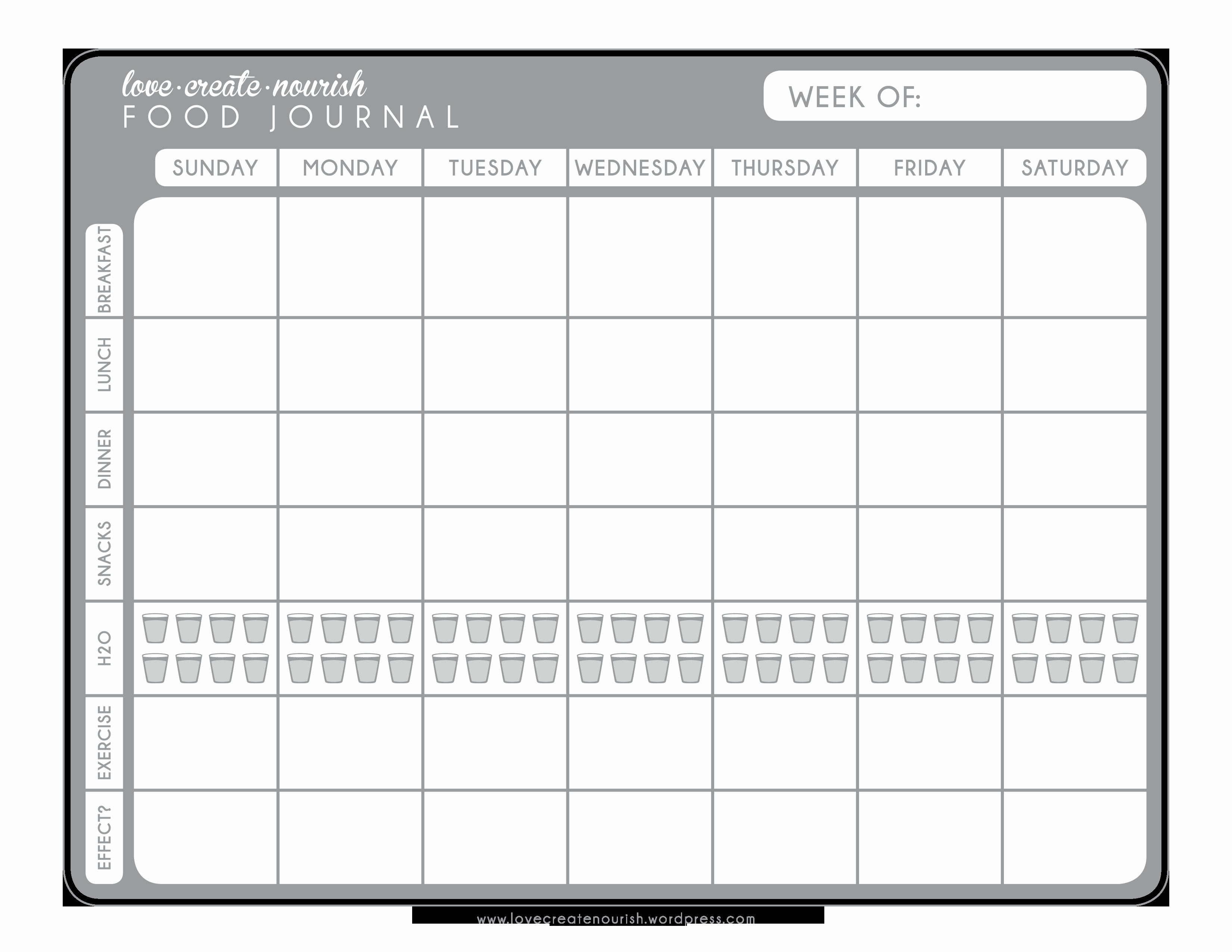 Printable Food and Exercise Journal New A Matter Of Discipline Free Weekly Food Journal