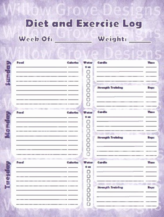 Printable Food and Exercise Journal New Items Similar to Diet and Exercise Tracker Weekly T