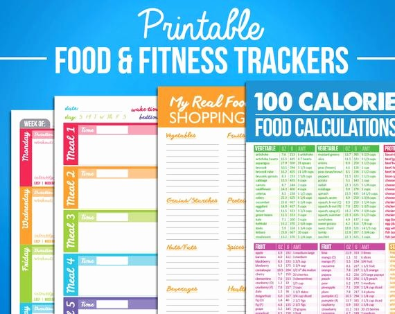 Printable Food and Exercise Journal Unique Printable Food & Fitness Diary Journal Trackers Digital Pdf
