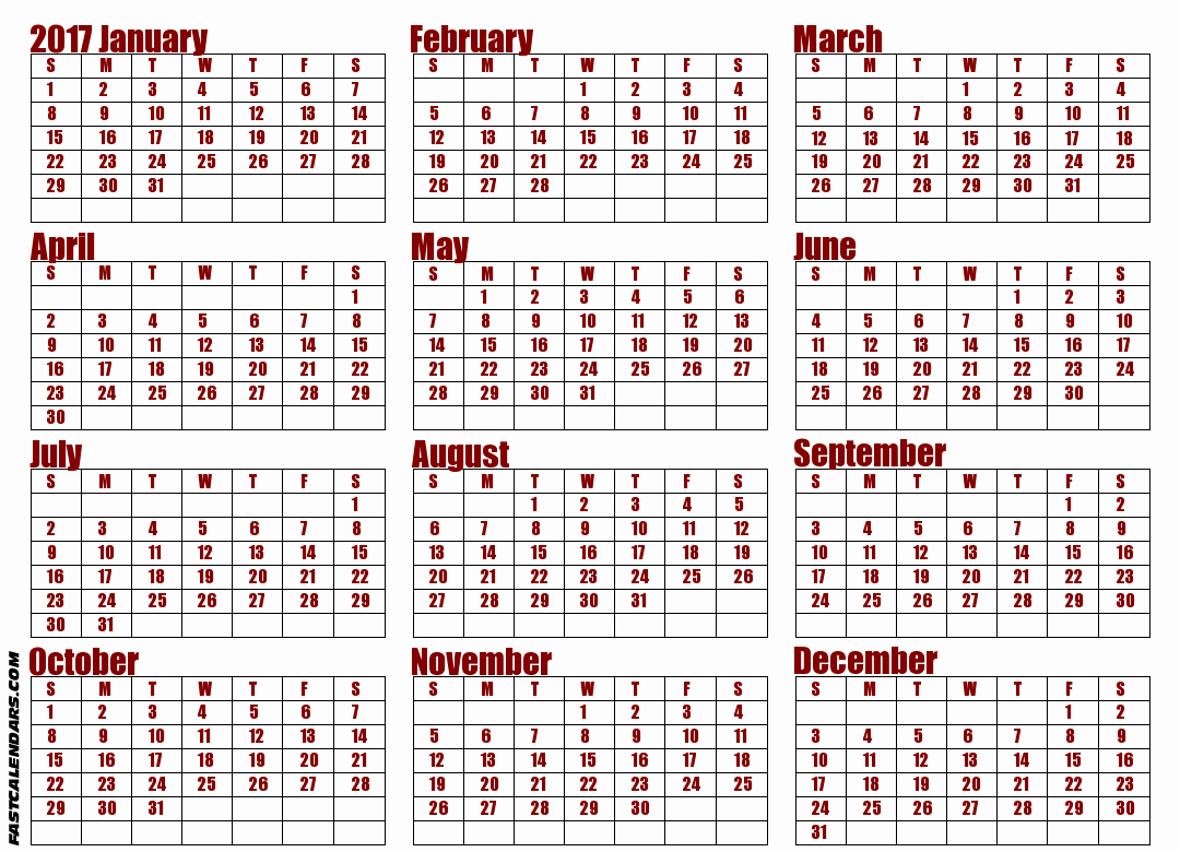 Printable Full Year Calendar 2017 Awesome Blank 2017 Full Year Calendar