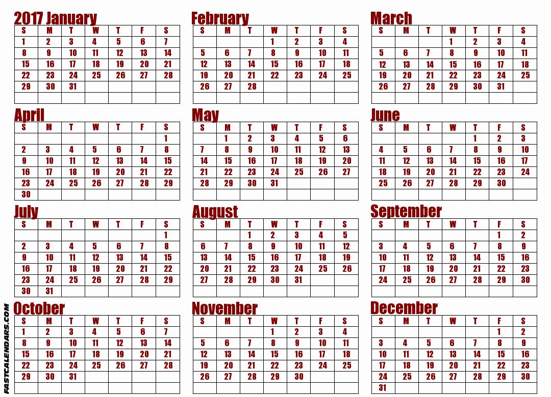 Printable Full Year Calendar 2017 Awesome Blank 2017 Full Year Calendar