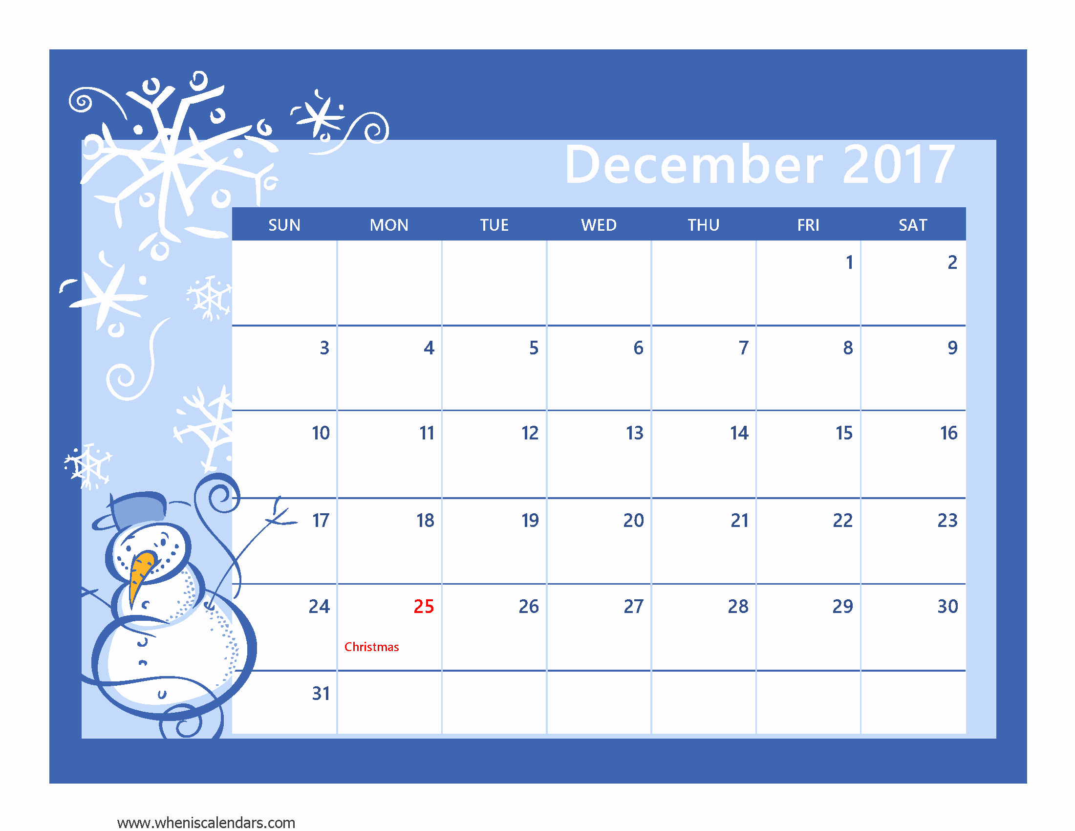 Printable Full Year Calendar 2017 Awesome December Full Page Calendar 2017