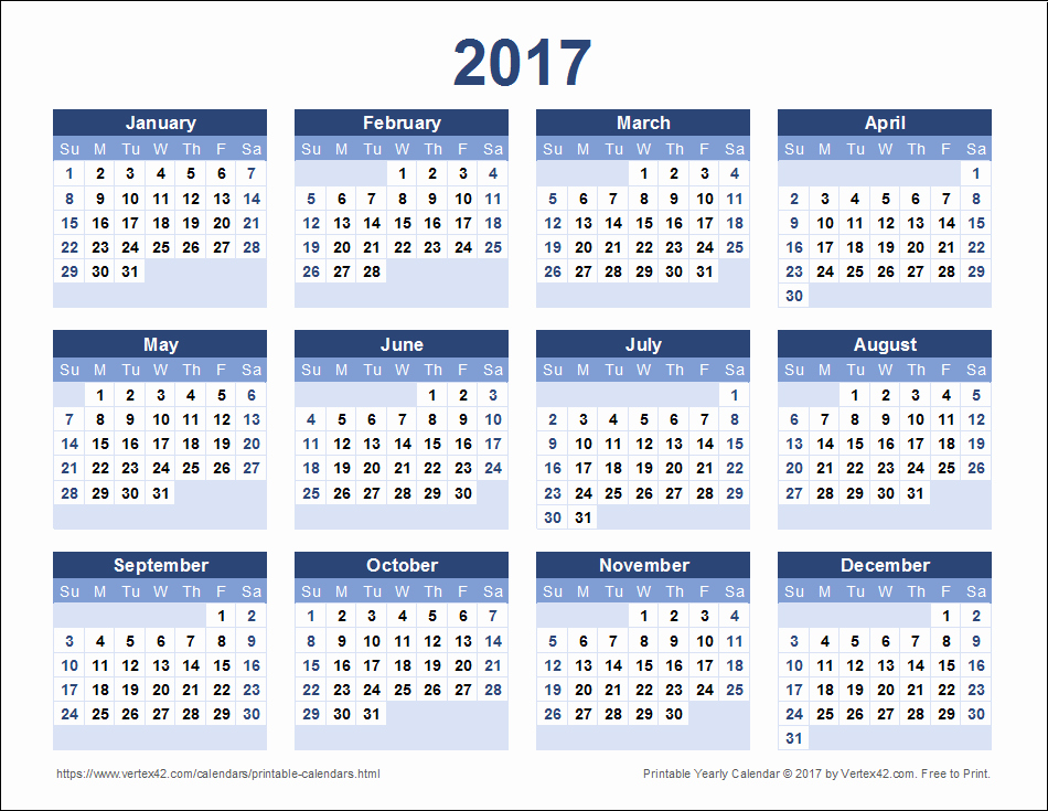 Printable Full Year Calendar 2017 Beautiful 2017 Calendar Templates and