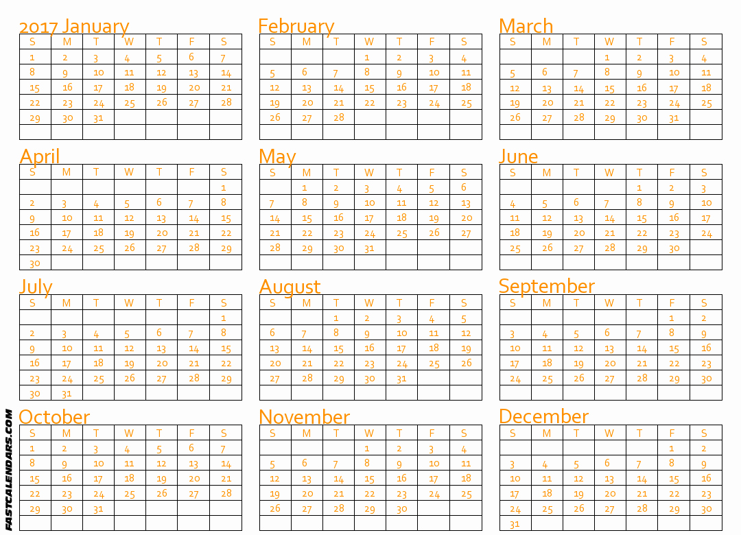 Printable Full Year Calendar 2017 Beautiful Blank 2017 Full Year Calendar