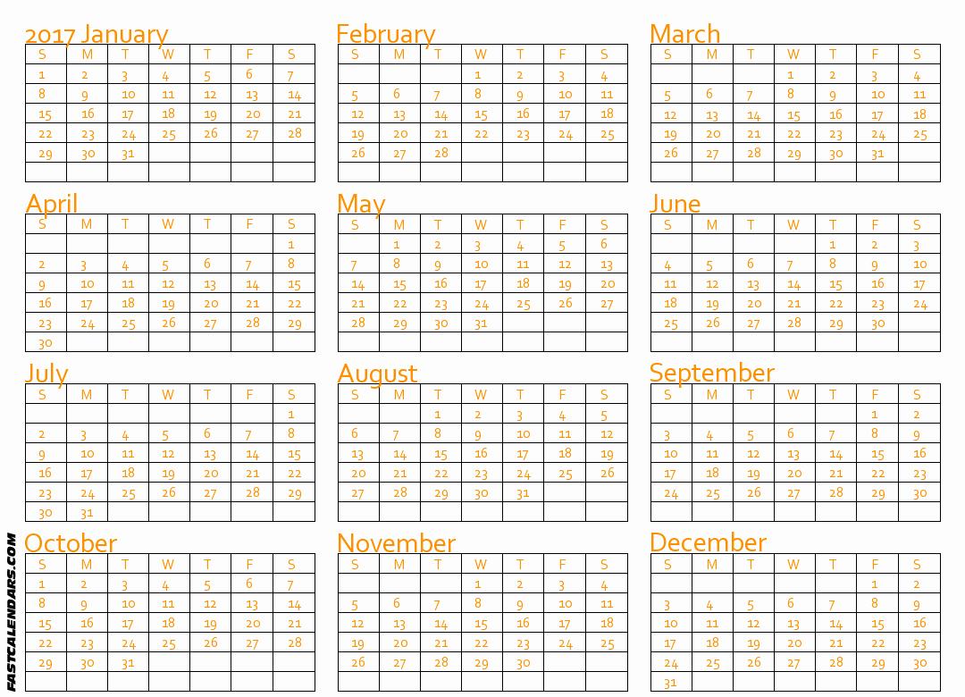 Printable Full Year Calendar 2017 Beautiful Blank 2017 Full Year Calendar