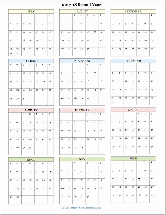 Printable Full Year Calendar 2017 Best Of 2017 2018 School Calendar