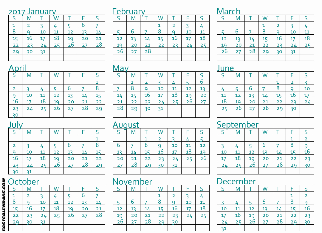 Printable Full Year Calendar 2017 Best Of Blank 2017 Full Year Calendar