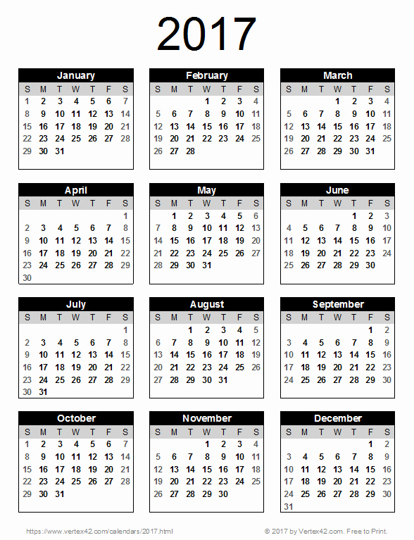 Printable Full Year Calendar 2017 Elegant 2017 Calendar Templates and