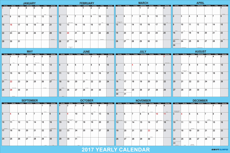 Printable Full Year Calendar 2017 Elegant Yearly Calendar 2017