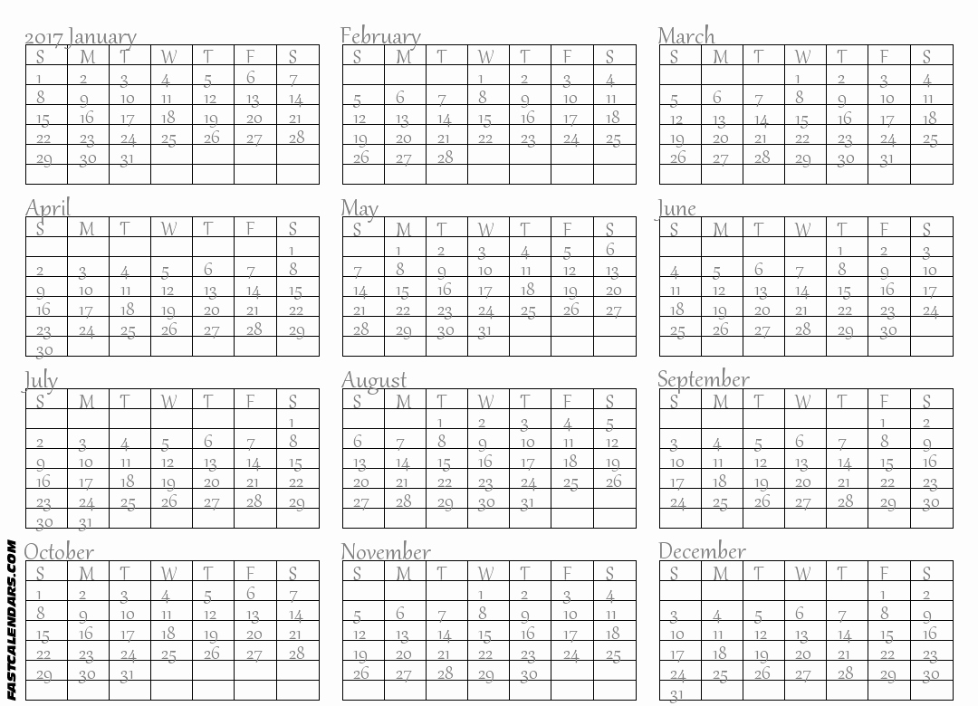 Printable Full Year Calendar 2017 Fresh Full Year Calendars