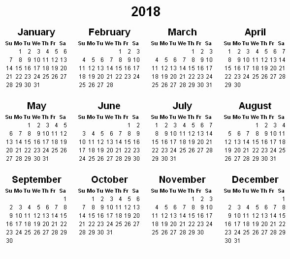 Printable Full Year Calendar 2017 Fresh Yearly Calendar 2018