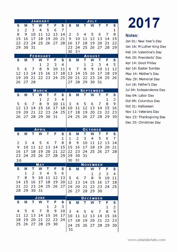 Printable Full Year Calendar 2017 Inspirational 2017 Calendar Template Half Page Free Printable Templates