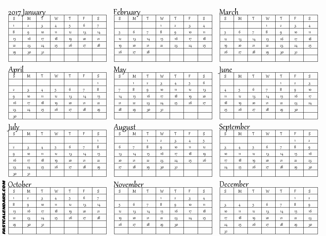 Printable Full Year Calendar 2017 Inspirational Blank 2017 Full Year Calendar