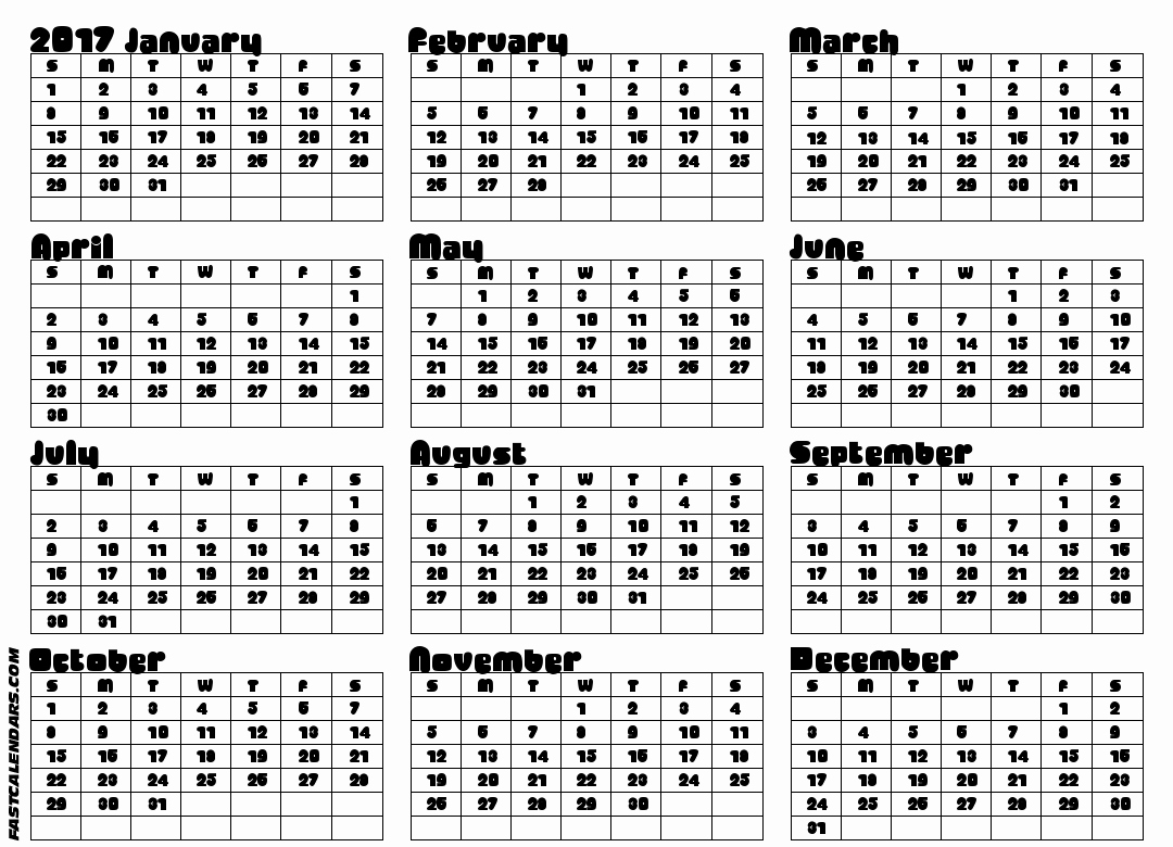 Printable Full Year Calendar 2017 Inspirational Full Year Calendars