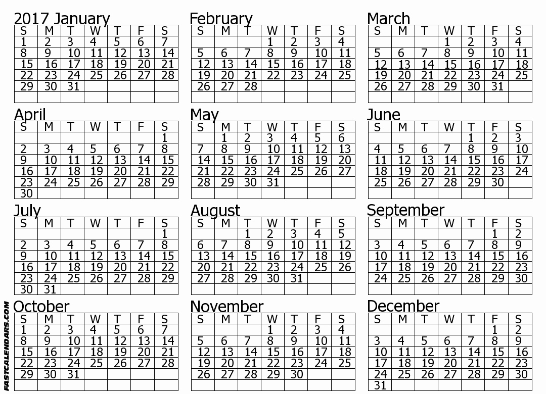 Printable Full Year Calendar 2017 Lovely Blank 2017 Full Year Calendar