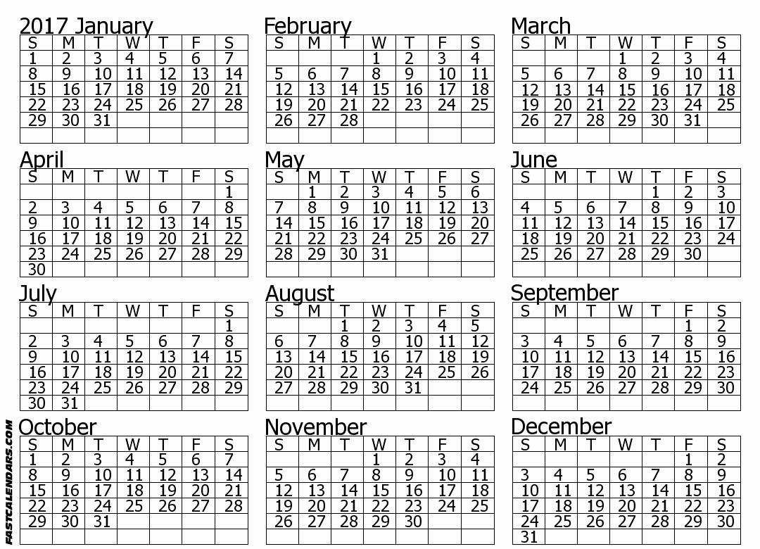 Printable Full Year Calendar 2017 Lovely Blank 2017 Full Year Calendar