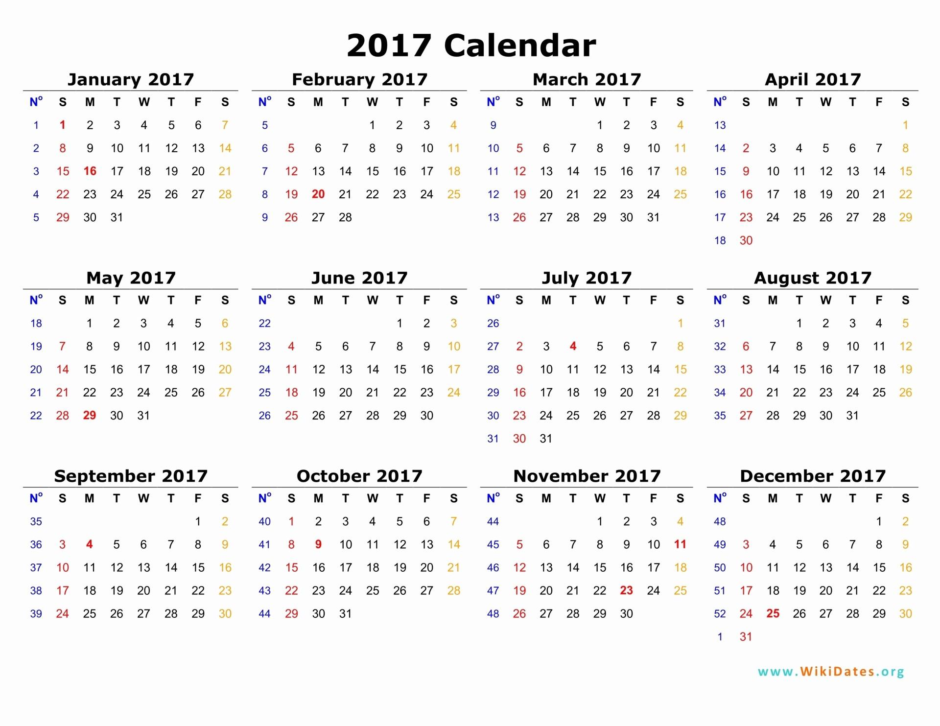 Printable Full Year Calendar 2017 Luxury 2017 Calendar