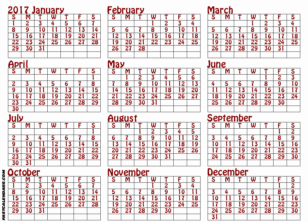 Printable Full Year Calendar 2017 Luxury Blank 2017 Full Year Calendar