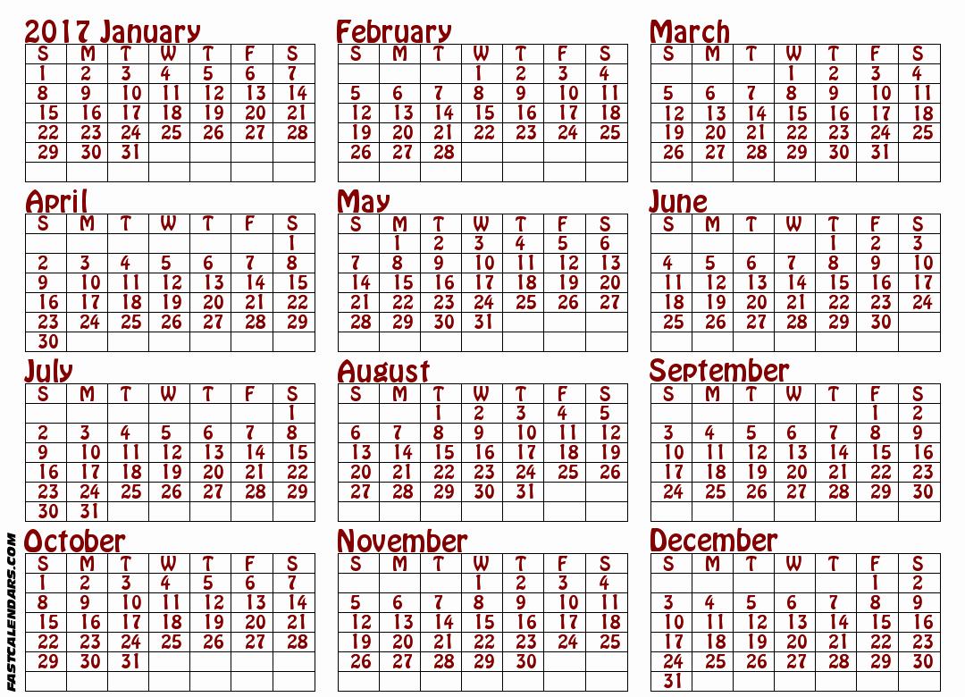 Printable Full Year Calendar 2017 Luxury Blank 2017 Full Year Calendar