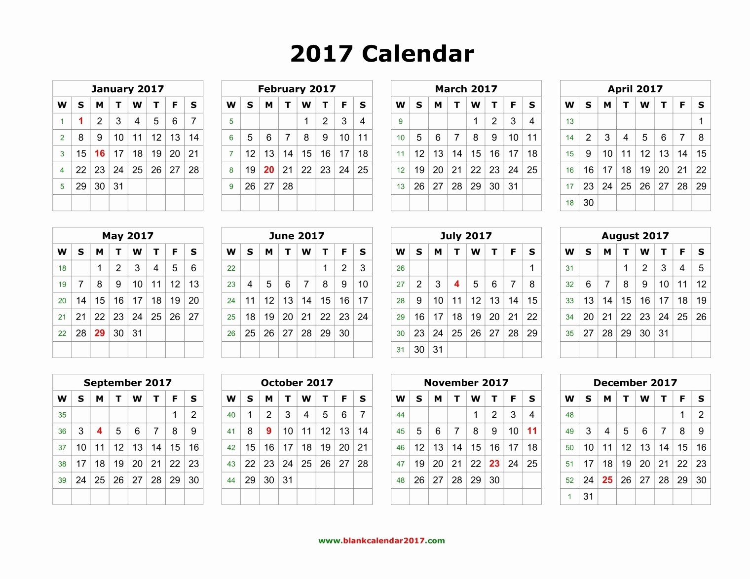 Printable Full Year Calendar 2017 New Blank Calendar 2017