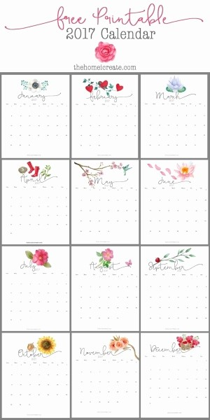 Printable Full Year Calendar 2017 New Full 2017 Monthly Calendar Girly