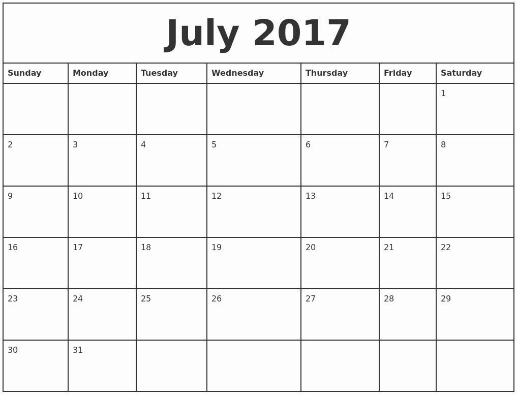Printable Full Year Calendar 2017 New July 2017 Printable Monthly Calendar