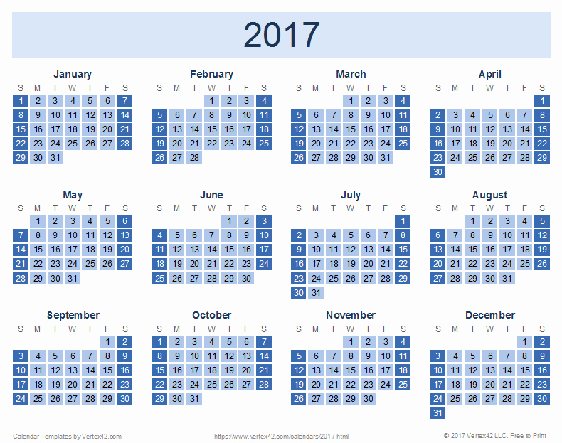 Printable Full Year Calendar 2017 Unique 2017 Calendar Templates and