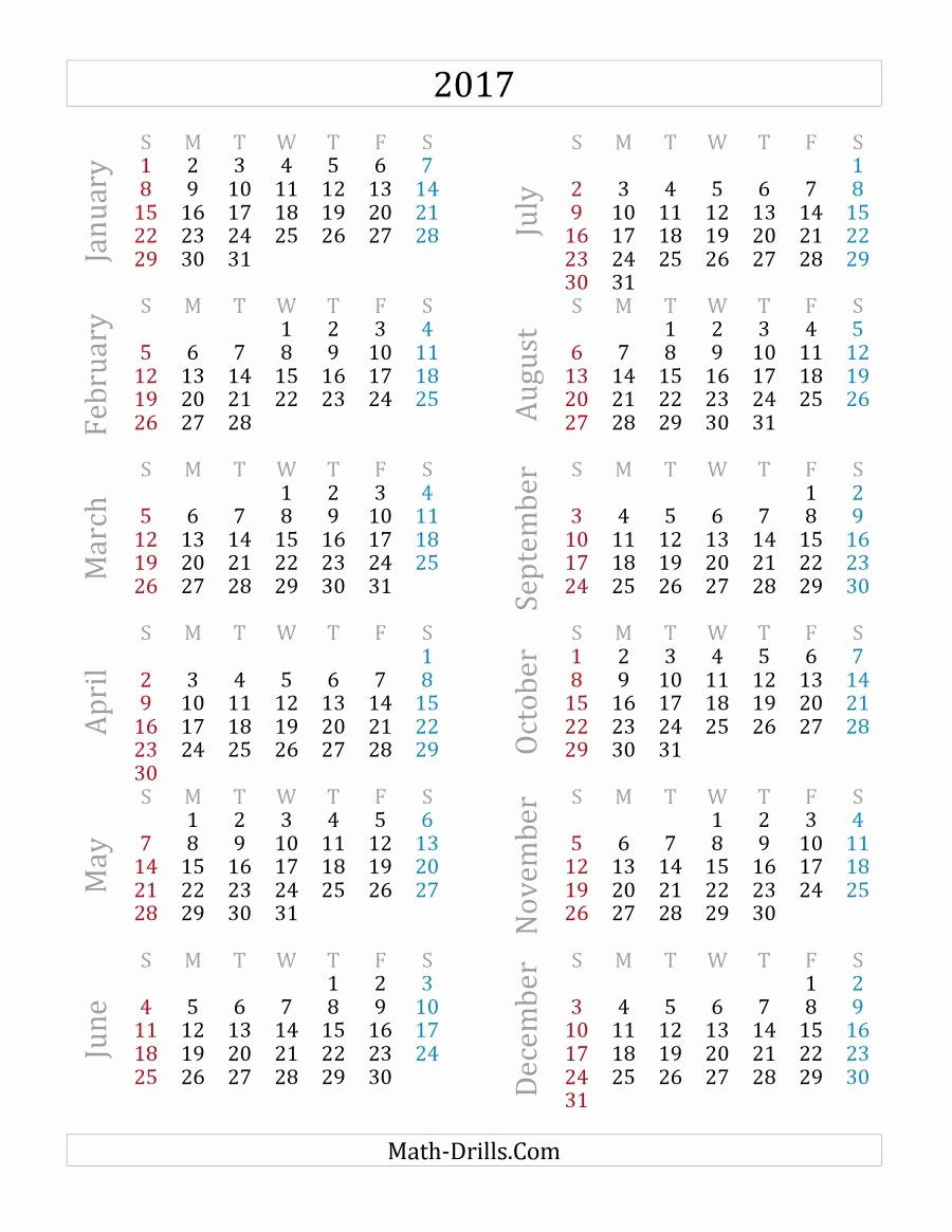 Printable Full Year Calendar 2017 Unique 2017 Yearly Calendar A