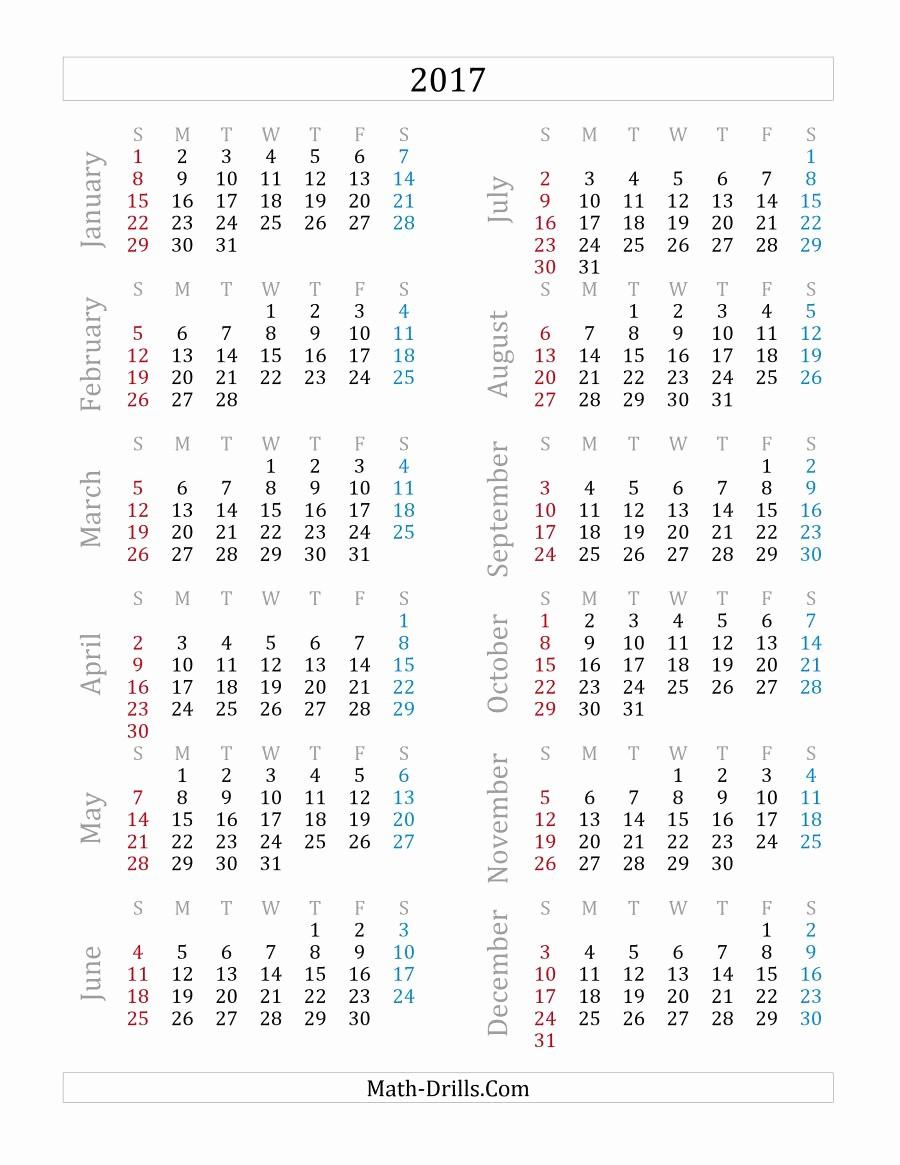 Printable Full Year Calendar 2017 Unique 2017 Yearly Calendar A