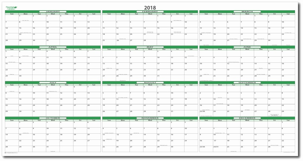 "Printable Full Year Calendar 2017 Unique 2018 Dry Erasable Wall Calendar 38"" X 75"""