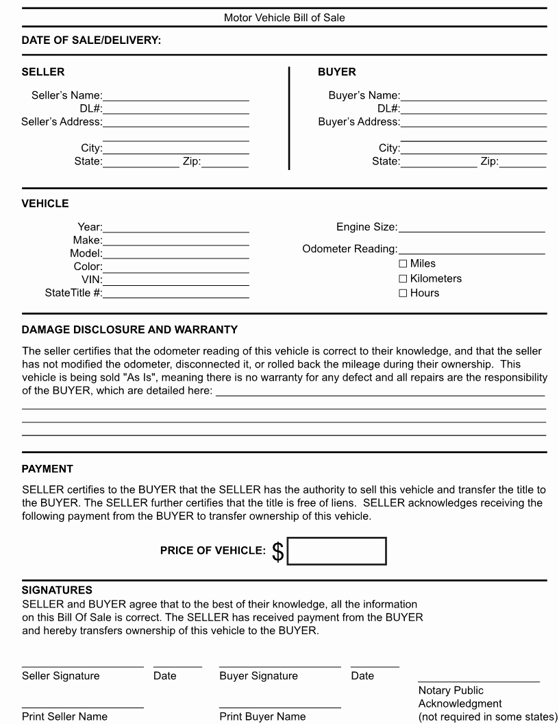 Printable Generic Bill Of Sale Awesome Free Kentucky Generic Bill Of Sale form Download Pdf