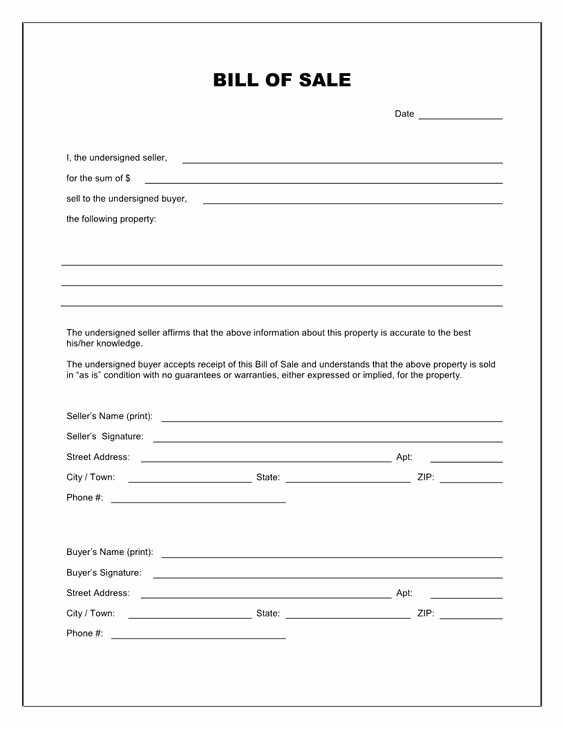 Printable Generic Bill Of Sale Fresh Bill Sale form Template