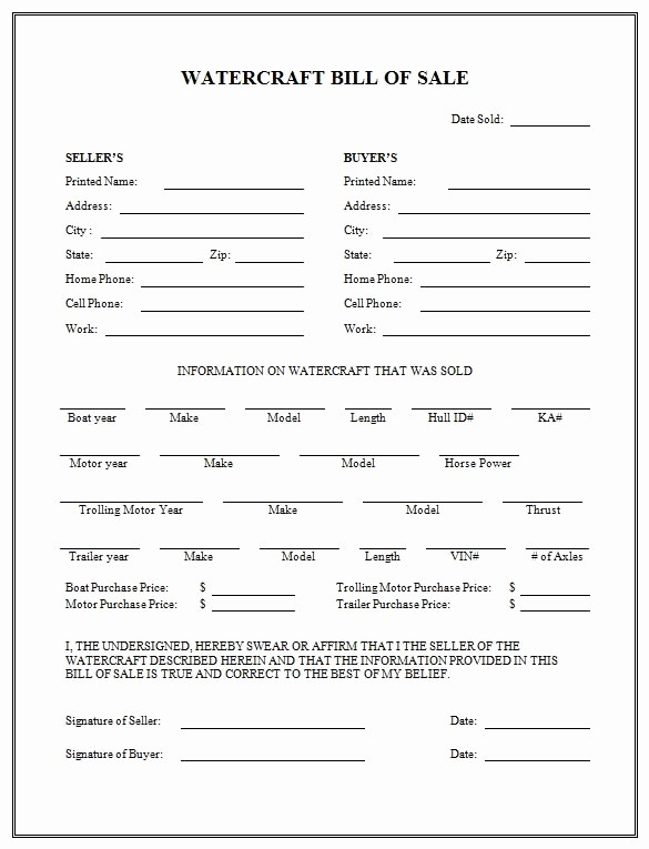 Printable Generic Bill Of Sale Lovely Free Printable Boat Bill Sale form Generic