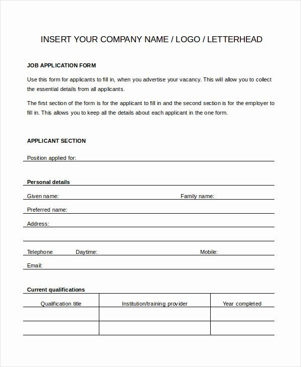 Printable Generic Job Application form Beautiful Generic Job Application 8 Free Word Pdf Documents