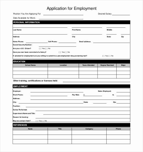 Printable Generic Job Application form Elegant Free Employment Application Pdf