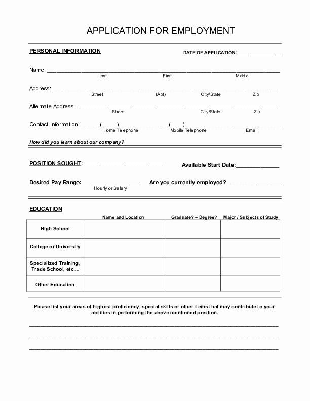 Printable Generic Job Application form Elegant Free Printable Employment Application