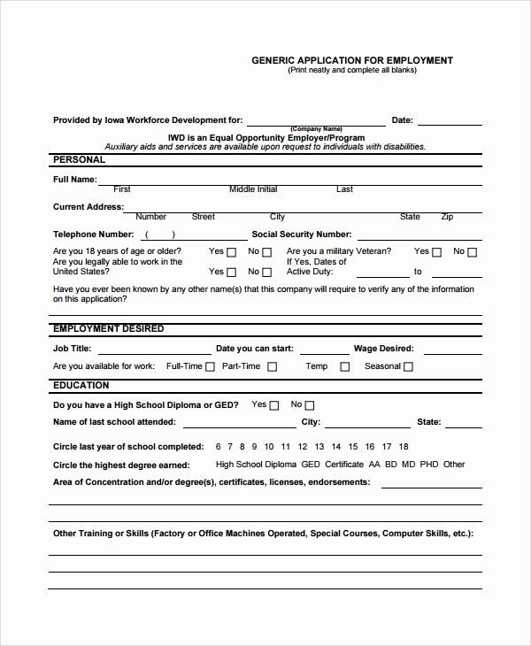 Printable Generic Job Application form Inspirational 8 Sample Job Application forms