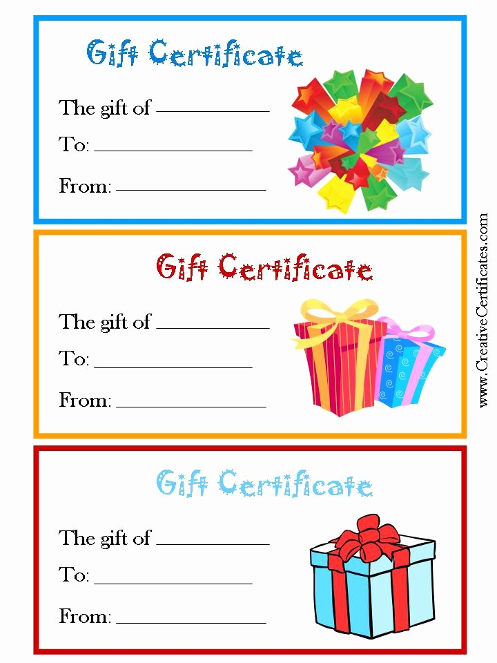 Printable Gift Certificates Online Free Elegant 7 Best Of Free Printable Gift Certificate forms