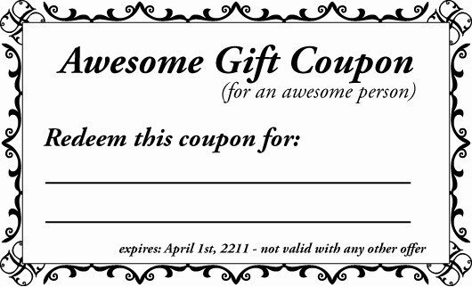 Printable Gift Coupon Templates Free Unique 16 Coupon Templates Excel Pdf formats