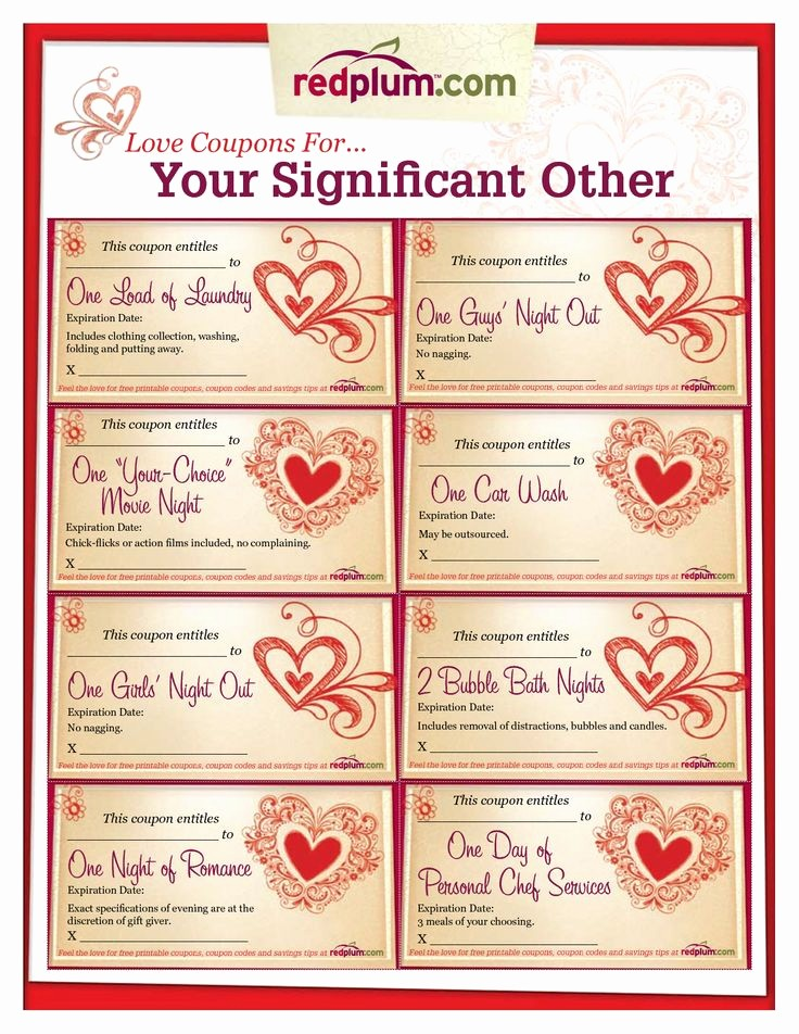 Printable Gift Coupon Templates Free Unique Romantic Love Coupon Template Printable
